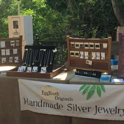 Eggtooth Originals at Lithia Artisans Market of Ashland Memorial Day Weekend (weather permitting).