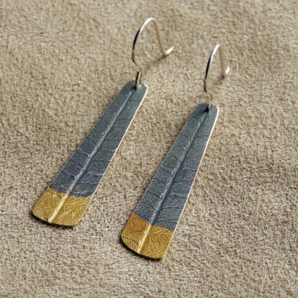 Fern earrings silver with gold